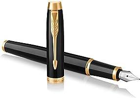 Parker IM Fountain Pen, Black Lacquer Gold Trim, Fine Nib with Blue Ink Refill (1931645)