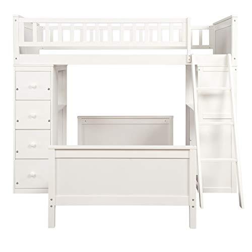 A-myt cómodo y hermoso Blanco, adecuado para dormitorios y dormitorios, twofold literas están hechas de madera entera de madera, una habitación doble noblemática y atmosférica con cajones y estantería