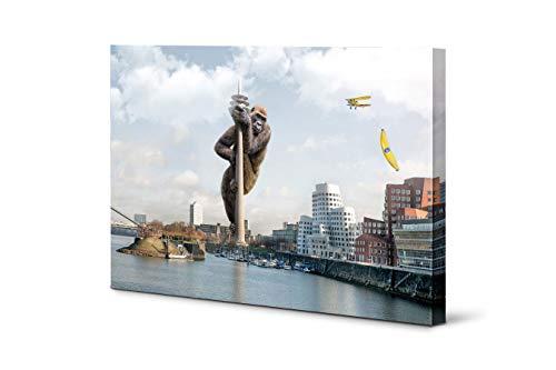 Wandbilder Düsseldorf   Altstadt Rheinturm Volksgarten   Acrylglas Leinwand oder Alu-Dibond   Tiere Banane Wasserfall   lustig modern surreal (Big Banana, Leinwandbild 120 x 80 cm)