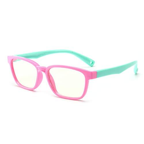 Anti Blue Light Glasses for Kids Computer Glasses,UV Protection Anti Glare Eyeglasses Computer Glasses Video Gaming Glasses for Children (Pink-Green)