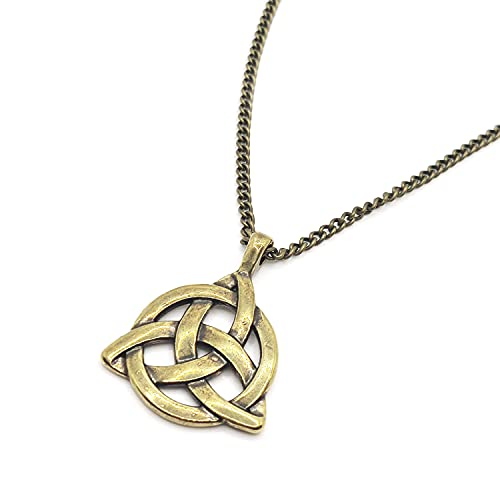 Baronyka Handmade Celtic Knot Necklace for Men, Bronze-Plated Irish Triangle Triquetra Pendant, Trinity Knot, 24' with 2' Extension Chain, Lobster Clasp, Spiritual Gift, Scottish, Irish Jewelry
