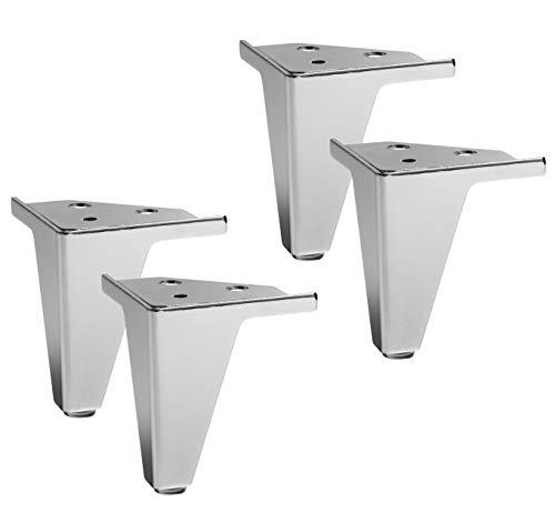 IPEA 4 Patas para Muebles, sofás, sillones, armarios Modelo Gemma - Juego de 4 Patas de Hierro - Diseño Elegante Color Metal Cromado, Altura 105 mm