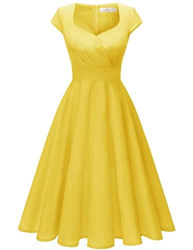 Homrain Donna Annata 1950 retrò Rockabilly Vestito cap Sleeves Audrey Swing Abito da Cocktail...