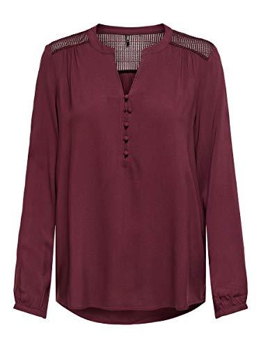 Only ONLEDDIE Detail L/S Top WVN Noos Camisa, Port Royale, S para Mujer