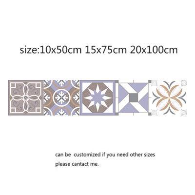 DWWSP Haus Dekoration Arabisch Retro Fliesen-Aufkleber for Küche Badezimmer PVC Selbstklebende Wand-Aufkleber Wohnzimmer DIY Hausdekor Tapete Wasserdicht (Color : 25, Size : 10x50cm)