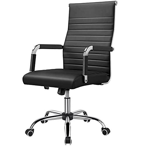 Yaheetech Bürostuhl Drehstuhl Arbeitshocker Drehocker Chefsessel mit hoher Rücklehne, höhenverstellbar aus Kunstleder Schwarz