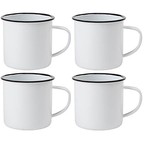 Preiswert&Gut 4 x Emaille-Becher Vintage Look 350ml Kaffeetasse Becher Coffee Trinkbecher Farbwahl (Weiß)