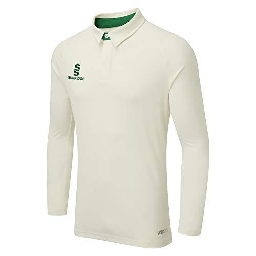 Surridge Sports Ergo Long Sleeve Camiseta de críquet, Verde, M para Hombre