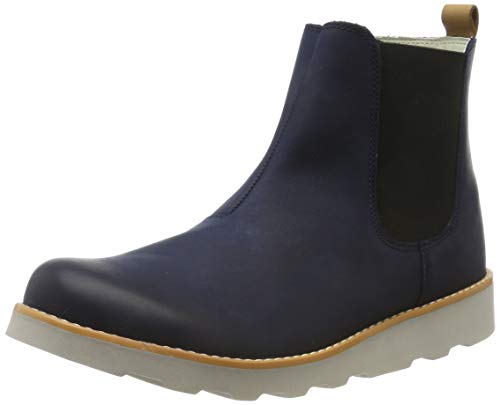 Clarks Jungen Crown Halo K Chelsea Boots, Blau (Navy Leather Navy Leather), 35 EU