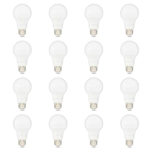 AmazonBasics 75W Equivalent, Soft White, Non-Dimmable, 10,000 Hour Lifetime, A19 LED Light Bulb   16-Pack