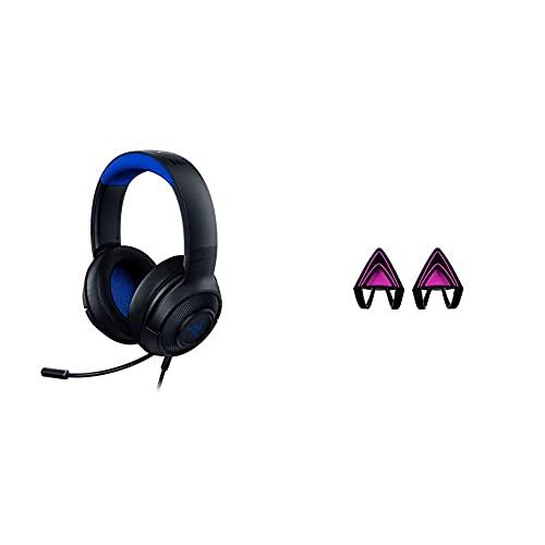 Razer Kraken X for Console - Gaming Headset (Ultra-leichte Gaming Kopfhörer, schwarz/blau) & Kitty Ears Katzenohren (für Razer Kraken Gaming Headsets einzigartiger Look für Razer Kraken) Pink
