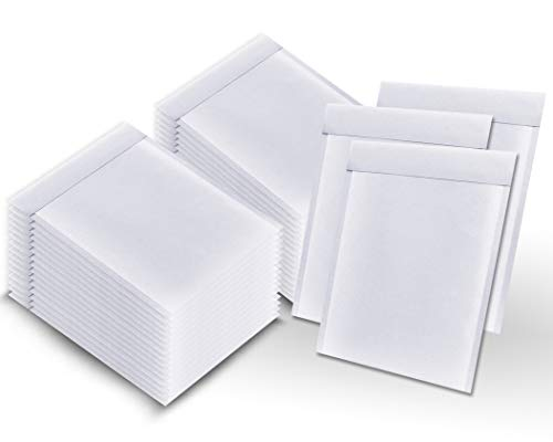 Pack of 100 White Kraft Bubble mailers 9.5 x 13 Padded envelopes 9 1/2 x 13 by Amiff. Kraft Paper Cushion envelopes. Exterior Size 10.5 x 13.5 (10 1/2 x 13 1/2). Peel and Seal. Mailing, Shipping.