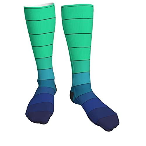 VJSDIUD Color verde a azul Cambio gradual Cómodo Deportes al aire libre Correr Calcetines casuales Calcetines deportivos que absorben la humedad Calcetines deportivos Cojín de entr
