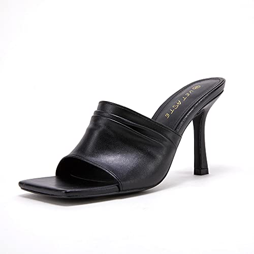 VETASTE Women's Square Open Toe Heels Leather Mules Slip On Sandals Stiletto Summer Shoes Black