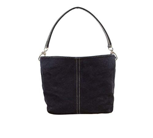 Small Roomy Women Real Italian Suede 3 Compartments Tote Shoulder Bag Perfect For Daily Use (Navy)