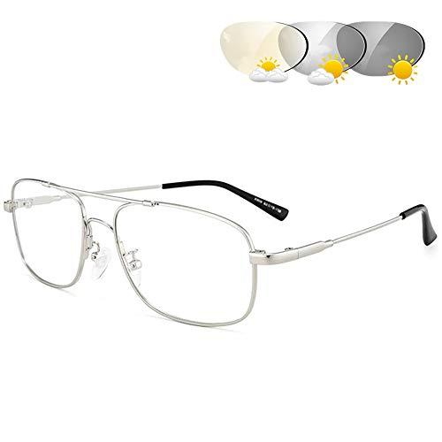 Bifokale Lesebrille, Herrenmode Doppellicht Photochrome Übergangslinse Presbyopia Uv400 Sonnenbrille Mit Dioptrien +1.0 Bis 3.0