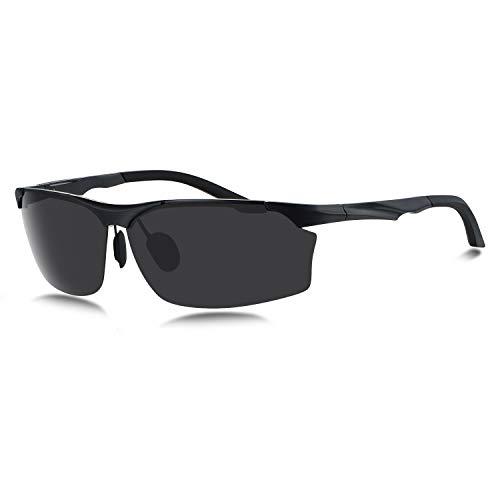 WHCREAT Hombre con Gafas de Sol Polarizadas de Media Llanta Para Bisagras de Resorte Lente de Protección UV400 para la Conducción, Ciclismo (Lente Negro Marco Negro)