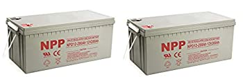NPP NPD12-200Ah Rechargeable AGM Deep Cycle 4D SLA 12V 200Ah Battery with Button Style Terminals  2 Pack