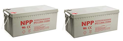 NPP NPD12-200Ah Rechargeable AGM Deep Cycle 4D SLA 12V 200Ah Battery with Button Style Terminals (2 Pack)