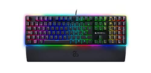 Newskill Suiko Switch Brown - Teclado Mecánico Gaming con Reposamuñecas Incluido (Teclas con grabación Macro, 20 Modos de iluminación RGB) - Color Negro