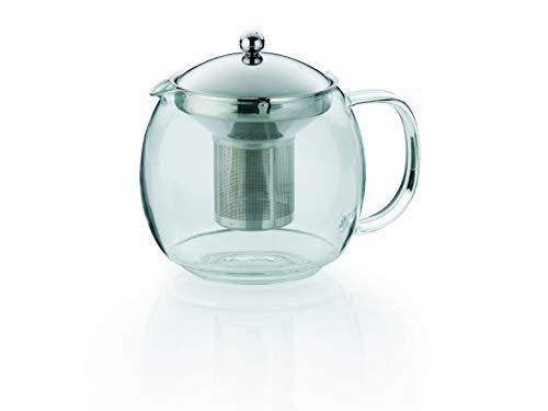 Kela 11456 Teekanne aus Glas mit Edelstahl-Siebeinsatz, 1,5 l, Cylon