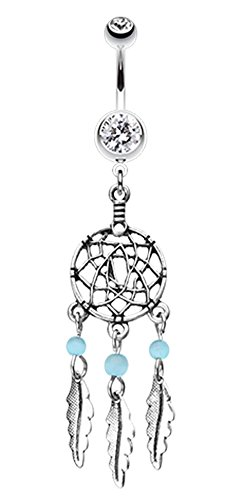 Classic Beaded Dream Catcher Belly Button Ring - 14 GA (1.6mm) - Clear/Aqua - Sold Individually