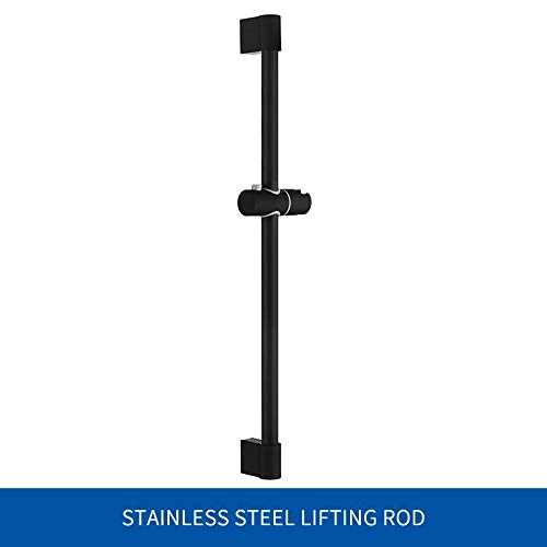 Rocco Shower Slide Bars - verstelbare 3 functies Black Shower Riser Slide bar met handmatige douche- en broek, wandmontage doucheschuim, set van 1 pc Silde Bar Only