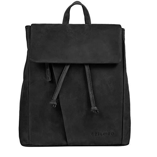 STILORD 'Anita' Lederrucksack Damen Klein Vintage City Rucksack Daypack für iPad 9.7 Zoll Rucksackhandtasche Shopping Freizeit aus Echtem Leder, Farbe:anthrazit