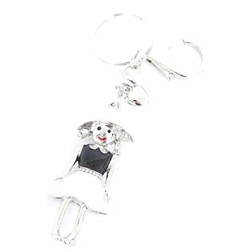 PT280-Porta-chiavi, gioiello da borsetta-Bambola, Bambina in metallo verniciato, colore: nero/bianco-Mode fantasia cintura Strass