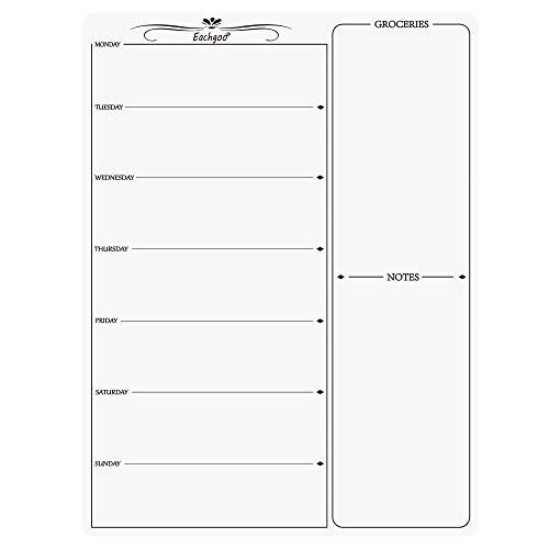 Eachgoo Pizarra Magnética para Nevera, Calendario Pizarra Magnética Semanal para Planificador de Menú,Recordatorio, Lista de la Compra (Blanco)
