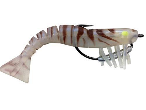 """Egret Baits E-VSW35-18-02 3.5"""" Vudu Weedless Shrimp 2/Pk, Tiger"""