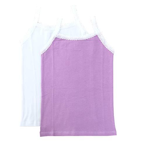 Esme Girl's Cami Tank Top (Pack of 2) PT 14-16 White Lavender