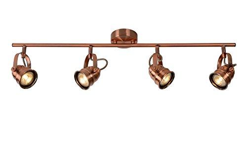 Lucide CIGAL - Spot Plafond - Ø 9 cm - LED - GU10 - 4x5W 2700K - Cuivre