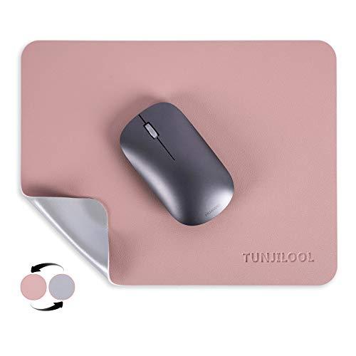 TUNJILOOL Mauspad Runde Office 27 * 21cm, Mousepad doppelte Farbe in Standard-Größe, rutschfest Mousepad wasserdicht PU Leder Matte für PC, Computer und Laptop (Rosa/Silber)