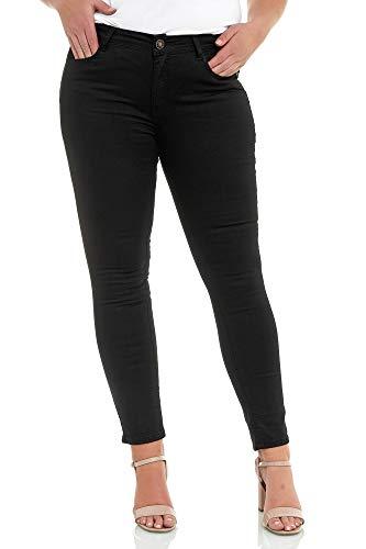 Elara Jeans da Donna Taglie Forti Slim Fit Chunkyrayan Nero L180-1 Black-50