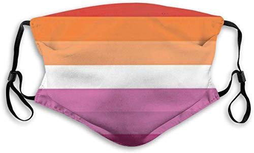 Lesbian Pride Flag Face Mask Anti Dust with Filter Adjustable Reusable Bandana Washable For Women & Men