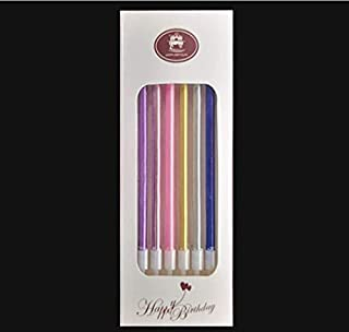 YYHC Birthday Cake Candle Wedding Party Smokeless Long Thin Luxurious Multicolour Candles