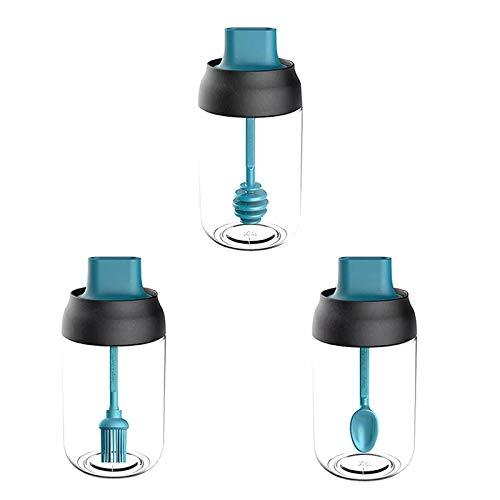 Camisin 3 tarros de especias de vidrio herméticos para condimentos, con tapa y cuchara, cepillo de aceite, cuchara de miel, 8.5 onzas