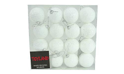 Toyland® förpackning med 16 x 7 cm vit frostad julglitter julgranskulor
