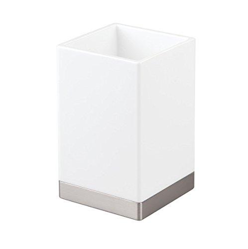 InterDesign Clarity Vaso para higiene bucal, portacepillos de baño en plástico, soporte para cepillos de dientes, blanco/plateado mate