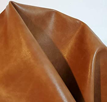 NAT Leathers | British Tan two tone Soft Faux Vegan Leather PU {Peta Approved Vegan} | 1 yard  36 inch x 54 inch wide  cut by yard | Synthetic Pleather 0.9 mm Smooth Vinyl Upholstery | Mid Brn 36 x54