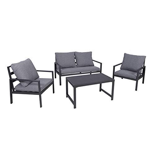 INDA-Exclusiv Juego de muebles de jardín de lujo para terrazas, de aluminio, antracita, grupo de asientos, 11 piezas, mesa de jardín, sofá de jardín con cojines acolchados