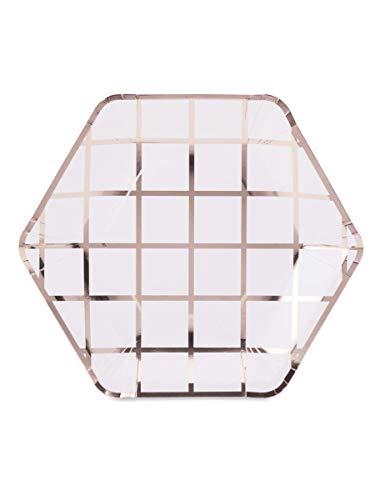 Generique - 8 Assiettes en Carton hexagonales à Carreaux Rose Gold 23 cm