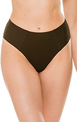 EBW Women's Collection Ribbed High Waist Bikini Bottom Black S
