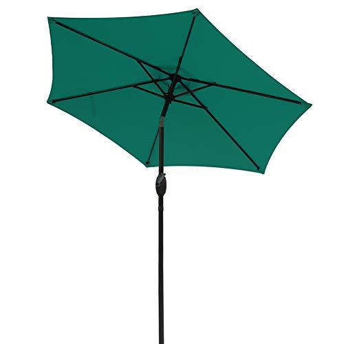 Aok Garden 7.5 ft Outdoor Umbrella - Patio Table Market Umbrella with Push Button Tilt and Crank 6 Sturdy Aluminum Ribs for Deck, Lawn, Pool& Backyard, Dark Green