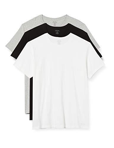 Calvin Klein S/s Crew Neck 3pk Camisa, Negro/Blanco/Gris Cal