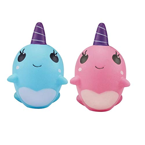 Ouflow 2PCS Squishies Slow Rising Narwhal Kawaii Unicorn Soft Cream Scented Toy