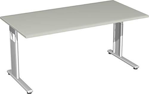 Gera Möbel S-617103-LG/SI Schreibtisch Lissabon, 160 x 80 x 68-82 cm, lichtgrau/Silber
