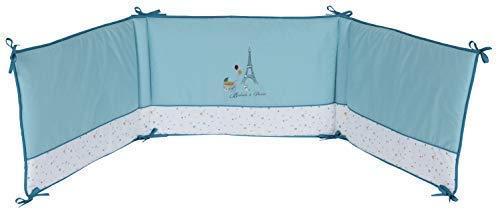 P'tit Basile - Tour de lit bébé Coton Bio adaptable aux lits 60x120 cm ou 70x140 cm - 40-180 cm - Protège la tête de bébé - Collection garçon Little Paris Bleu