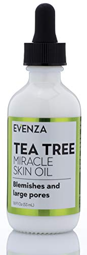 Tea Tree Miracle Facial Oil Therapeutic-Grade Essential Tea Tree Oil with Pure Natural Extracts for Acne Scars, Blemishes, Redness, Expression Lines, Enlarged Pores, Problem Skin by Evenza, 1.8 oz.